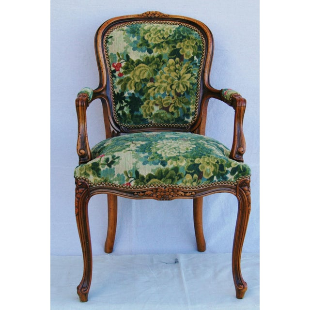 Scalamandre Marly Velvet Tapestry Upholstered Walnut Armchair - Image 2 of 10