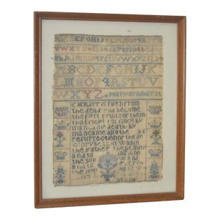 19th C. Embroidery Sampler Fragment