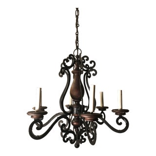 Spanish Wrought Iron & Wood 6-Arm Chandelier