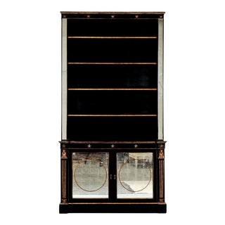 French Neoclassical Ebonised and Gilded Bookcase with Painted Mirror Doors