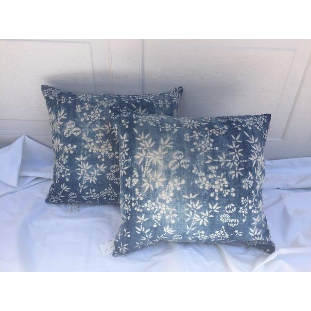 Vintage Indigo Batik Pillows - A Pair - Image 2 of 3