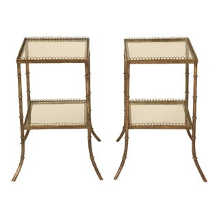 French Brass and Glass End Tables