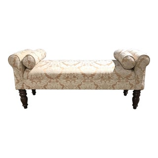 Damask Upholstered Bench on Bolsters