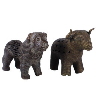 19th C. Benin Bronze Lion & Buffalo Figurines - A Pair