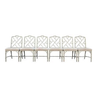 Chinese Chippendale Faux Bamboo Chairs - Set of 6