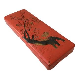 Chinoiserie Orange Lacquer Box