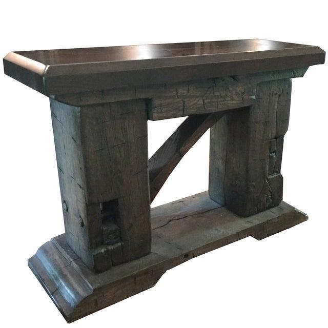 Rustic custom made salvaged barn wood bench chairish for Barn wood salvage companies