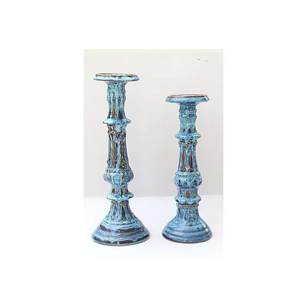 Drip Glaze Candleholders- A Pair - Image 2 of 6