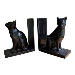 Polished Metal Cat Bookends - A Pair