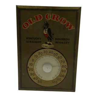 C. 1950 Old Crow Kentucky Bourbon Whiskey Metal Advertising Thermometer