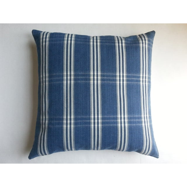 Guatemalan Blue & White Plaid Pillows - A Pair - Image 3 of 4