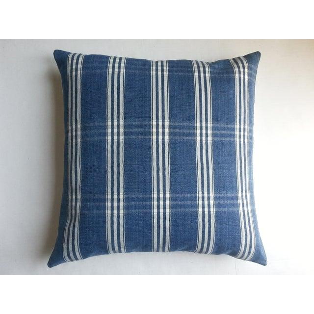 Image of Guatemalan Blue & White Plaid Pillows - A Pair