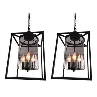 Contemporary Lantern Light Fixtures - A Pair