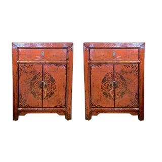 Chinese Burnt Orange Lacquered Chests- A Pair