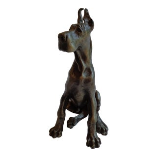Vintage Solid Pewter Great Dane Dog Figurine