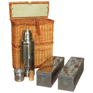 Abercrombie and Fitch Picnic Basket with Sandwich Tins and Thermos