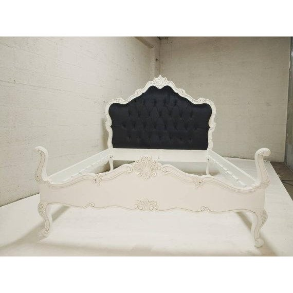 French farmhouse cottage chic queen bedframe chairish for French farmhouse bed