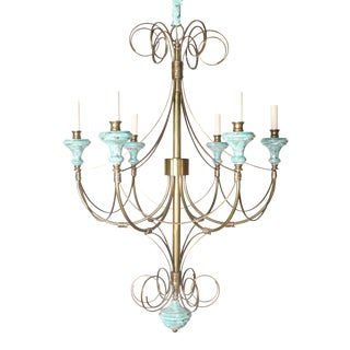Turquoise Wood & Brass Chandelier
