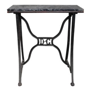 French 1920s Industrial Work Table With Marble Surface