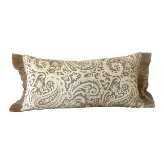 Tan and Cream Paisley Linen Pillow With Fringe