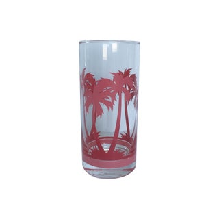 Vintage Pink Palm Tree Glasses - Set of 6
