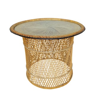 MCM Rattan Wicker Woven + Glass Round Side Table