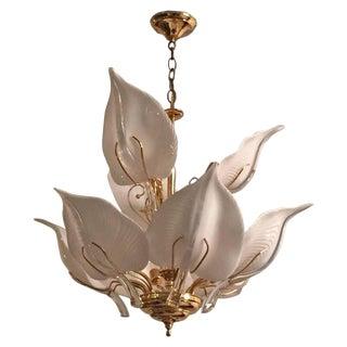 Franco Luce Italian Mid Century Murano Glass Calla Lilies Chandelier