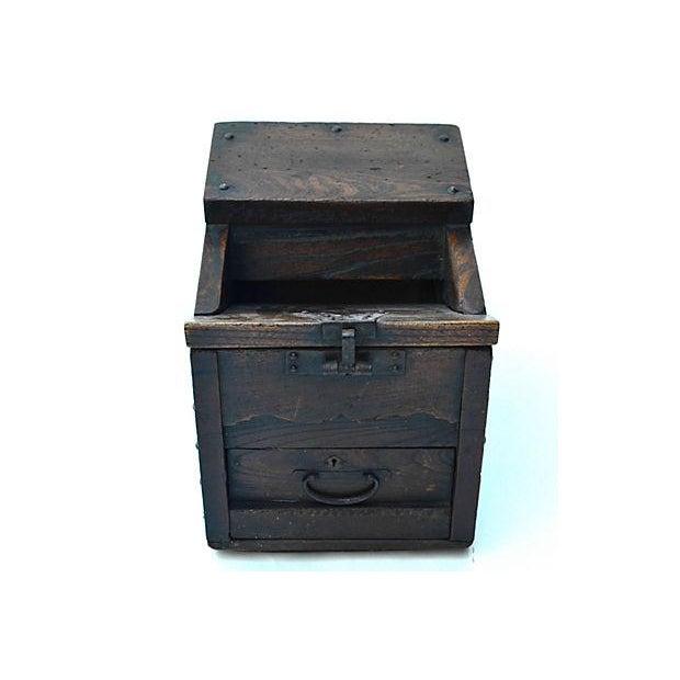 Image of Antique Japanese Keyaki Money Box