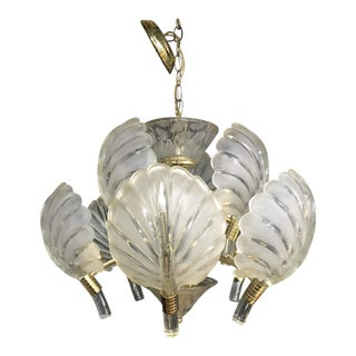 Franco Luce Style Frosted Glass Palm Leaf or Shell Chandelier