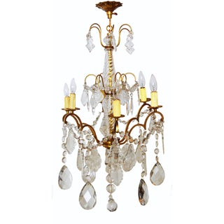 Vintage 1950s French Parisian Bronze Chandelier
