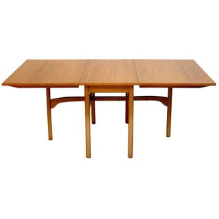 1960s Vintage Brown Saltman Mid-Century Modern Ribbon Mahogany Drop-Leaf Dining Table