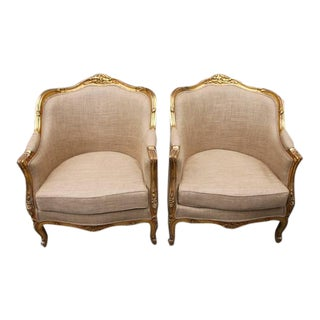 French Giltwood Louis Bergere Chairs - A Pair