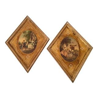 Vintage Gold Gilt Florentine Diamond-Shaped Prints - Pair