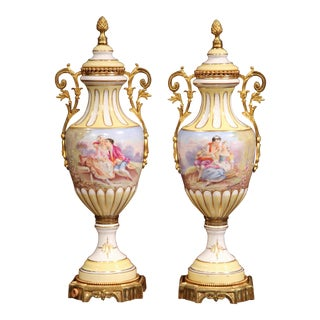 19th Century French Painted Porcelain and Bronze Vases - A Pair
