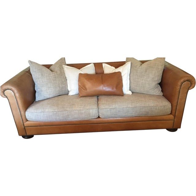 Ralph Lauren Leather & Linen Sofa - Image 1 of 5