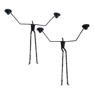Brutalist Iron & Wire Men Wall Sconces - A Pair