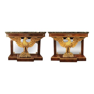 Monumental Federal Style Console Table with Carved Opposing Eagles - A Pair