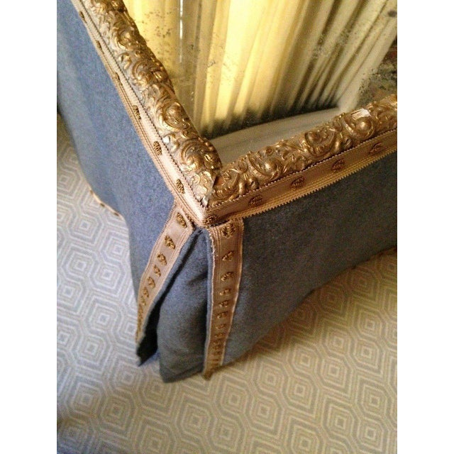 Wool Felt and Gold Braid Skirted Dressing Table with Antique French Mirror Top - Image 2 of 8