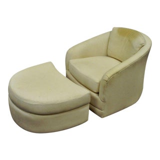 Mid-Century Modern Maurice Villency Swivel Club Lounge Chair & Ottoman - A Pair