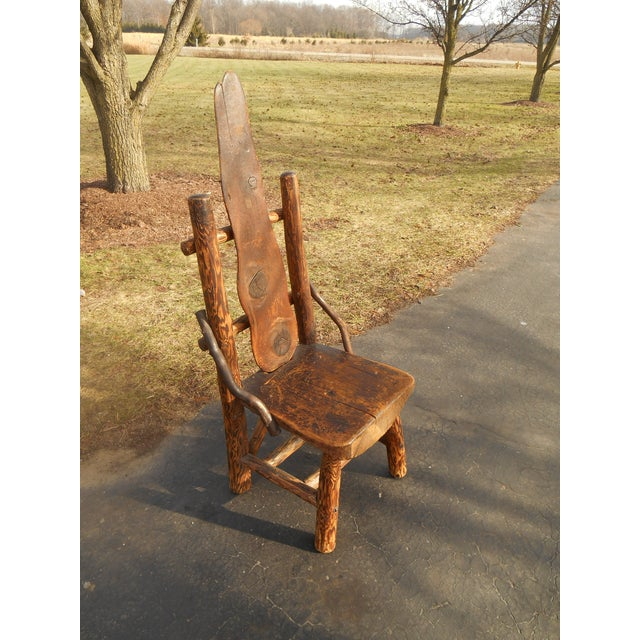 Antique Rustic Burl Wood Throne Chair - Image 4 of 6