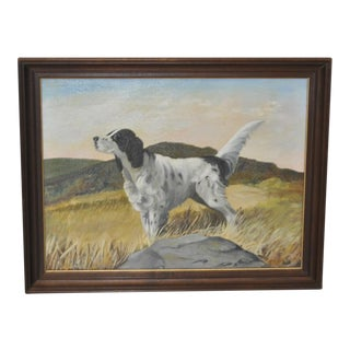 English Setter Oil Painting by Brigitte c.1970s