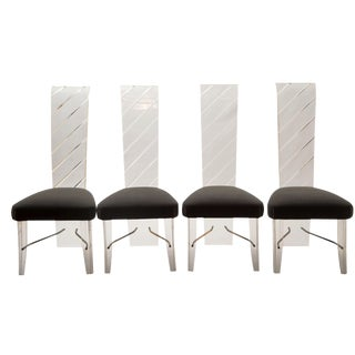 Lucite & Gray Velvet Dining Chairs - Set of 4