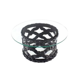 Black Lacquer Spaghetti Style Mid-Century Modern Round Glass Top Coffee Table