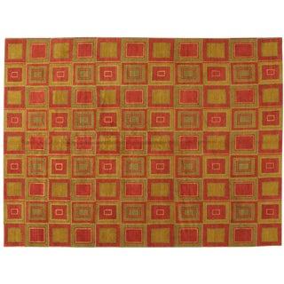 Red & Gold Tibetan Rug - 9′ × 12′
