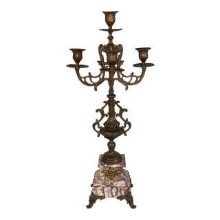 Victorian Marble & Bronze Candelabra