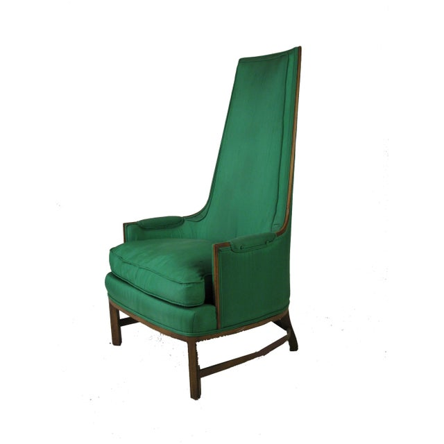 Mid-Century Emerald Highback Lounge Chair - Image 2 of 6