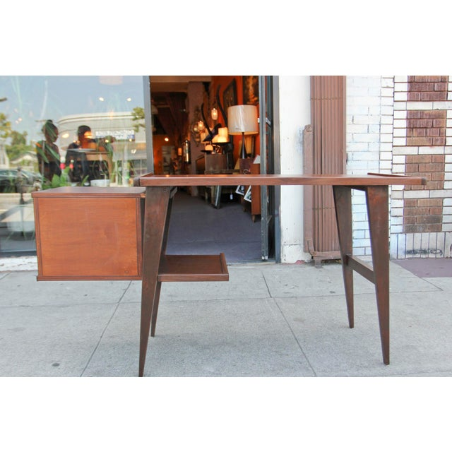 Modern Walnut Writing Desk - Image 5 of 8