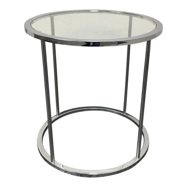 Mid Century Round Chrome amp Glass Side Table Chairish