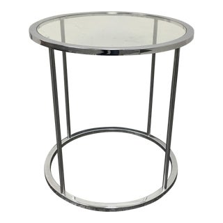 Mid-Century Round Chrome & Glass Side Table