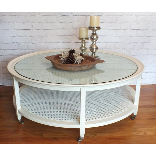Mid-Century Round White Caned Coffee Table - Image 5 of 11